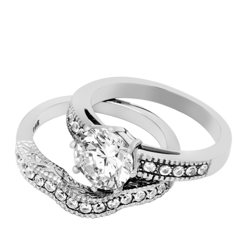 ST1W007-ARH1570 His & Hers Stainless Steel 2.29 Ct Cz Bridal Set & Men's Eternity Wedding Band