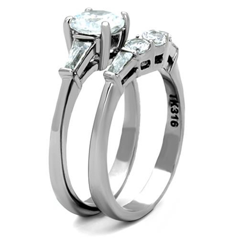 ST1W001-ARTI4317 His & Her Stainless Steel 1.95 Ct Cz Bridal Set & Men's Titanium Wedding Band