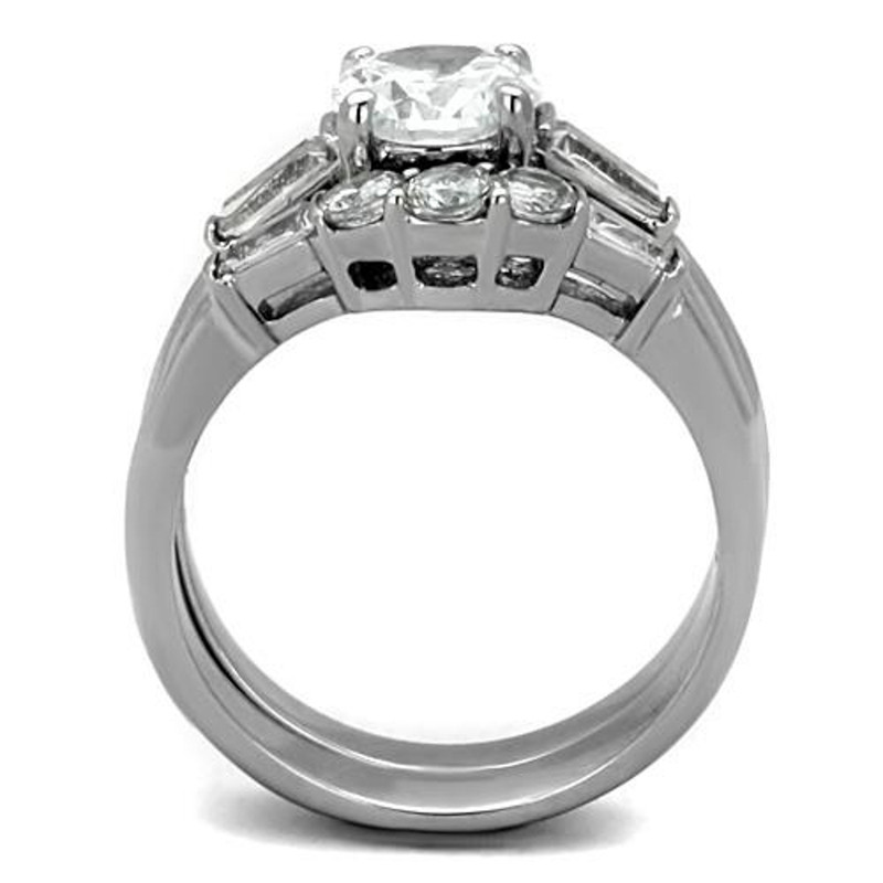 ST1W001-ARM4587 His & Her Stainless Steel 1.95 Ct Cz Bridal Ring Set & Men Zirconia Wedding Band