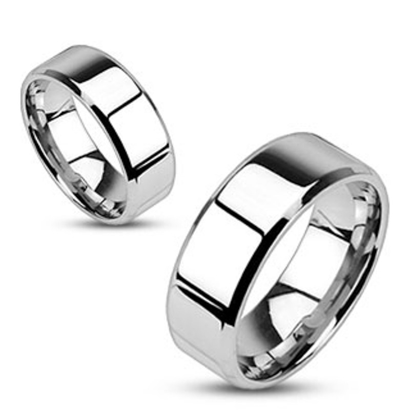 ST969-ARM0006 His & Her 3pc Stainless Steel 2.10 Ct Cz Bridal Ring Set & Men Beveled Edge Band