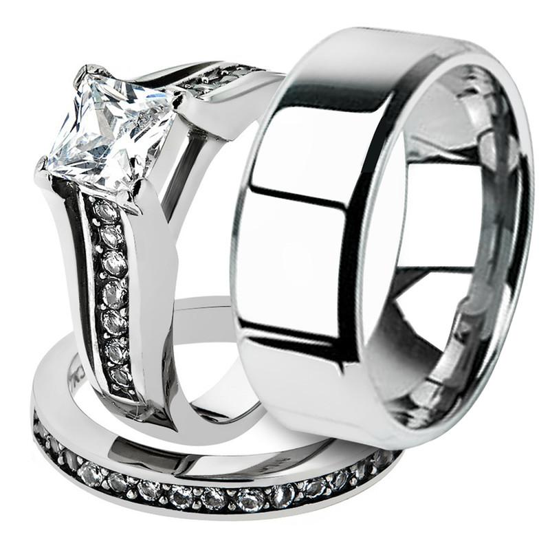 His & Hers Stainless Steel Princess Bridal Ring Set & Beveled Edge Wedding Band