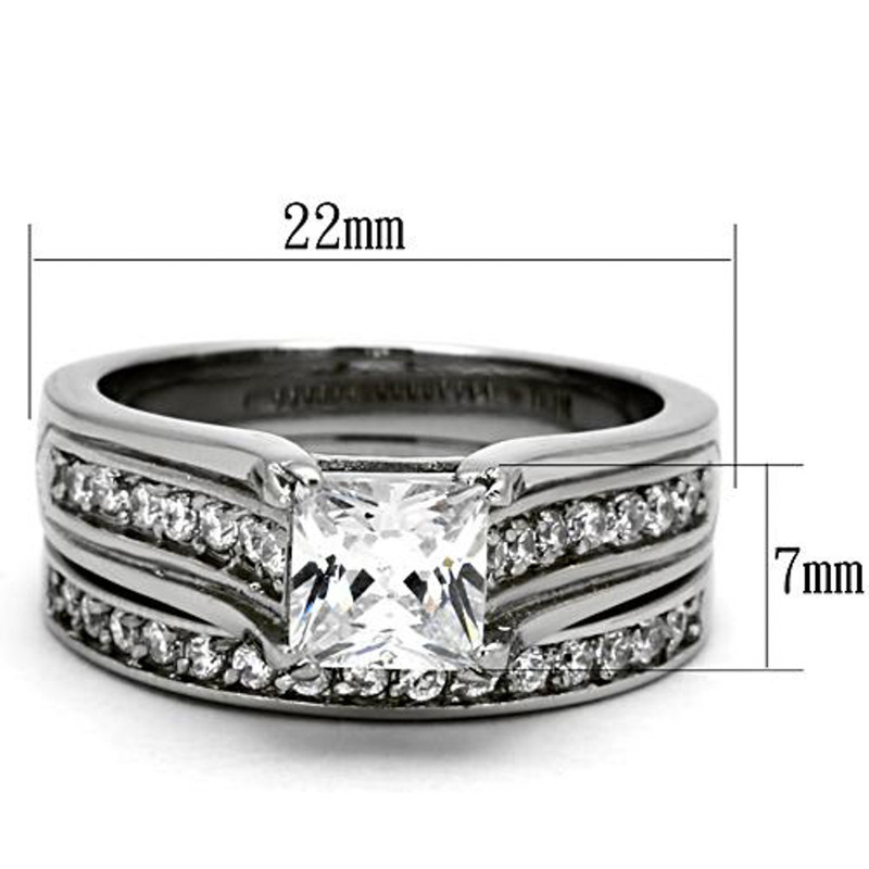ST969-ARTI4317 His & Her Stainless Steel 2.10 Ct Cz Bridal Set & Men's Titanium Wedding Band