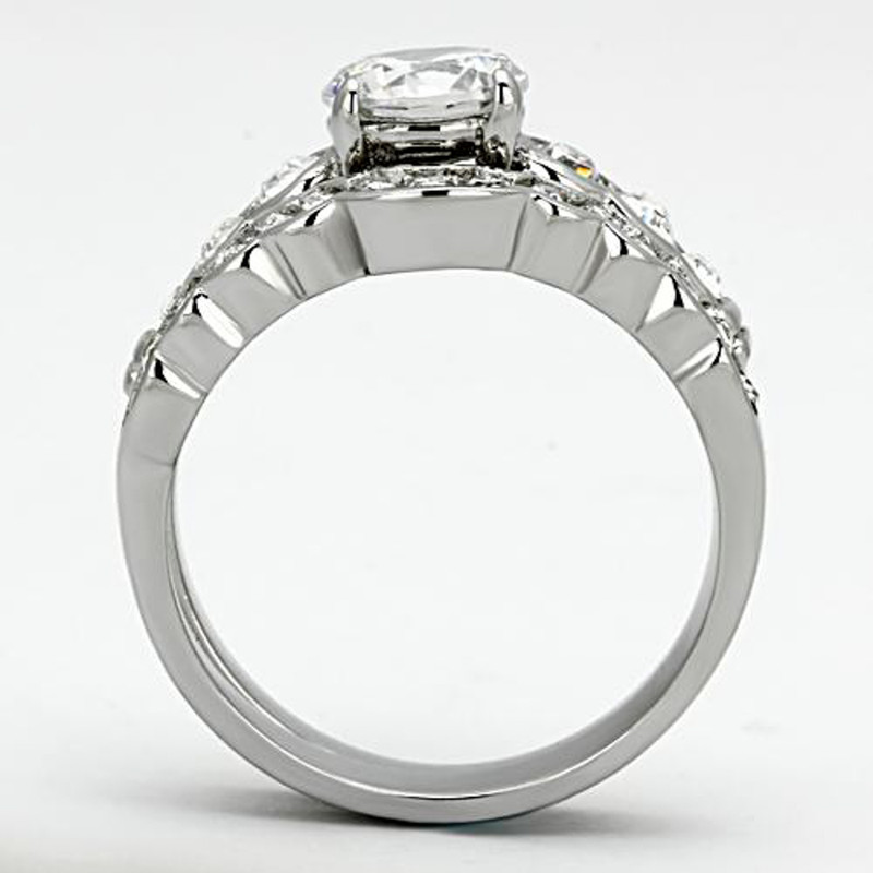 ST974-ARM4587 His & Her Stainless Steel 2.35 Ct Cz Bridal Ring Set & Men Zirconia Wedding Band