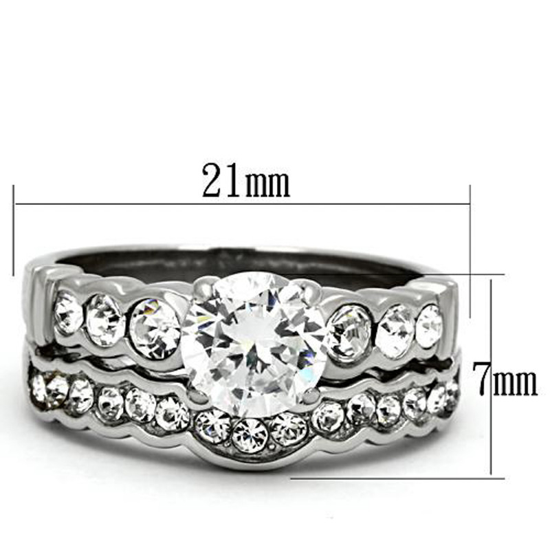 ST974-ARM0006 His & Her 3pc Stainless Steel 2.35 Ct Cz Bridal Ring Set & Men Beveled Edge Band