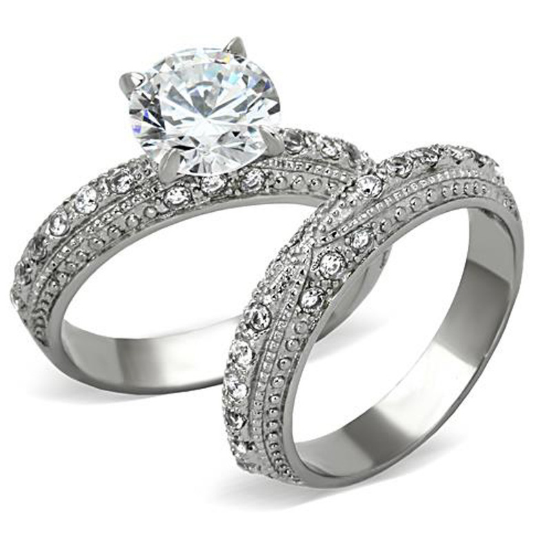 ST1228-ARTI4317 His & Her Stainless Steel 3.25 Ct Cz Bridal Set & Men's Titanium Wedding Band