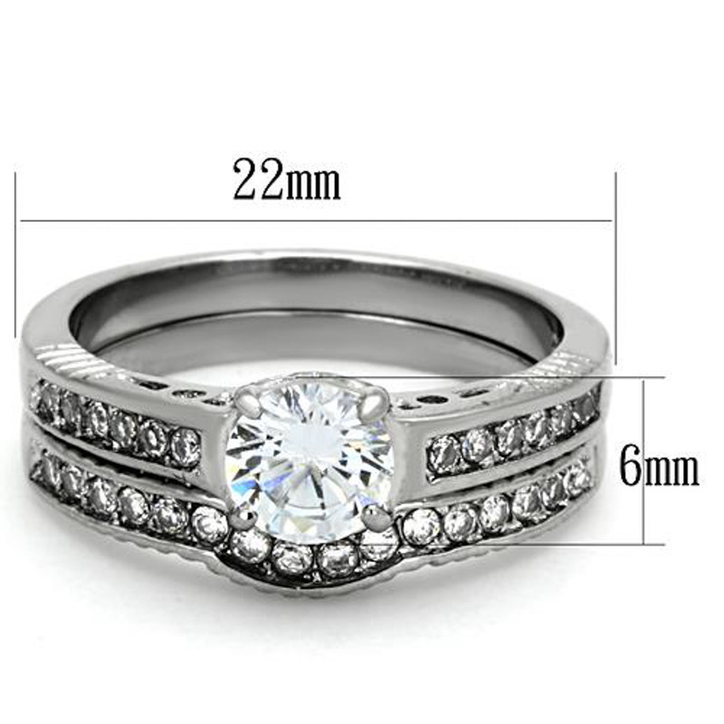 ST1231-AR001 His & Her 3pc Stainless Steel 1.75 Ct Cz Bridal Set & Men's Classic Wedding Band