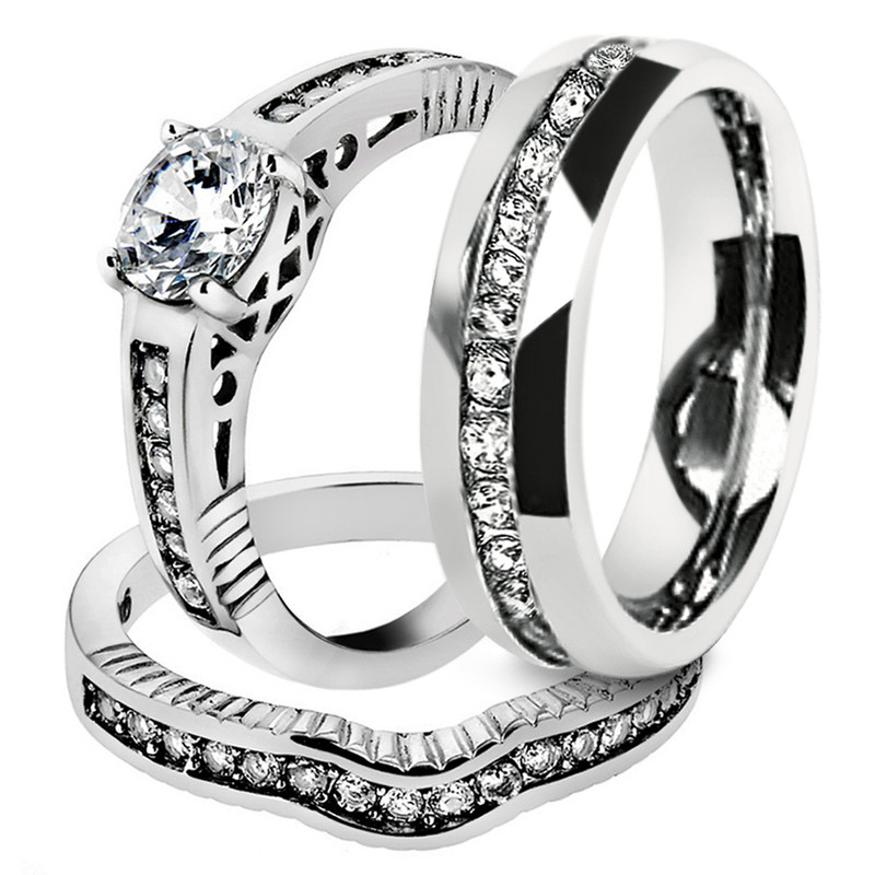 His & Hers 3 pc Stainless Steel Bridal Ring Set & Men's Eternity Wedding Band