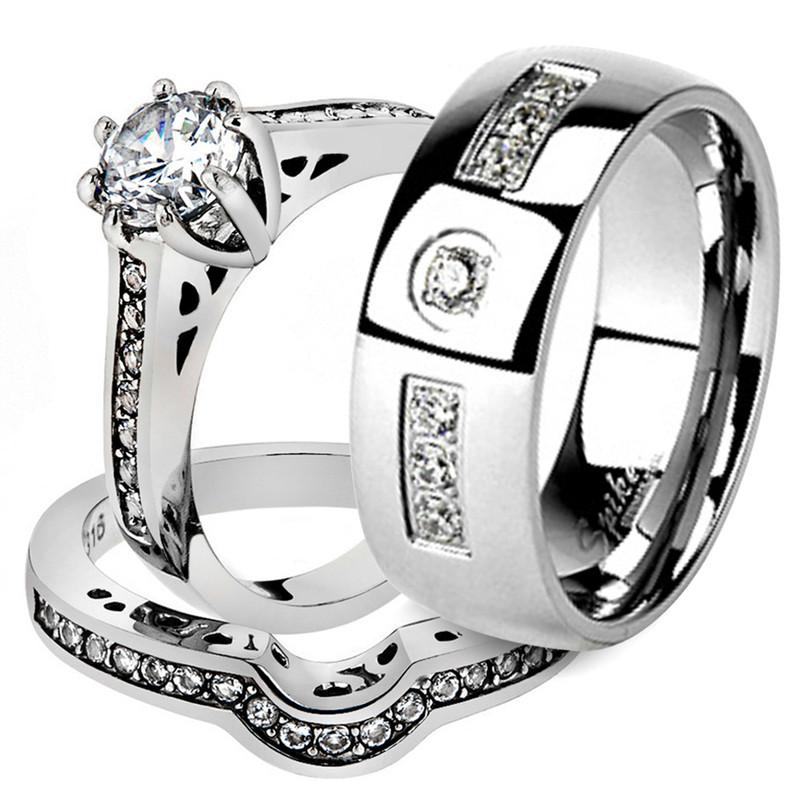 His & Her Stainless Steel 1.85 Ct Cz Bridal Ring Set & Men Zirconia Wedding Band
