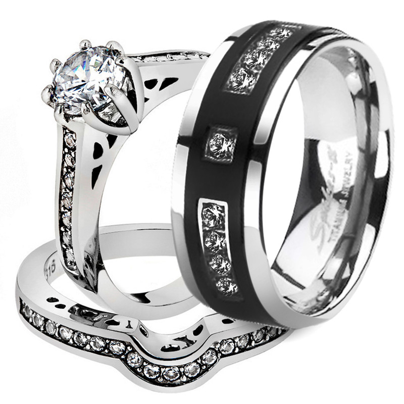 His & Her 3 Pc Stainless Steel Bridal Ring Set & Men's Titanium Wedding Band
