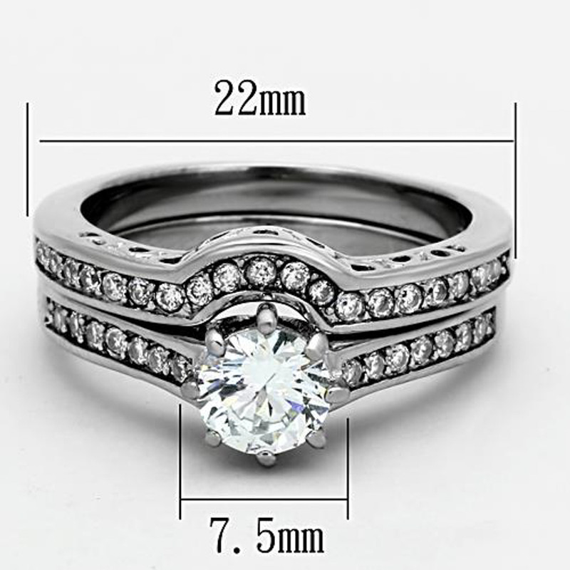 ST1330-ARTI4317 His & Her Stainless Steel 1.85 Ct Cz Bridal Set & Men's Titanium Wedding Band