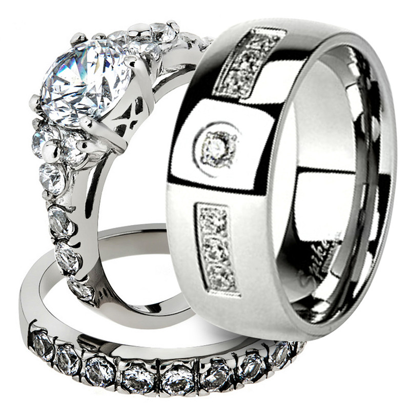 His & Her Stainless Steel 2.50 Ct Cz Bridal Ring Set & Men Zirconia Wedding Band