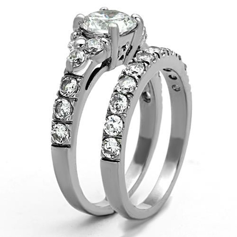 ST1331-ARM4587 His & Her Stainless Steel 2.50 Ct Cz Bridal Ring Set & Men Zirconia Wedding Band