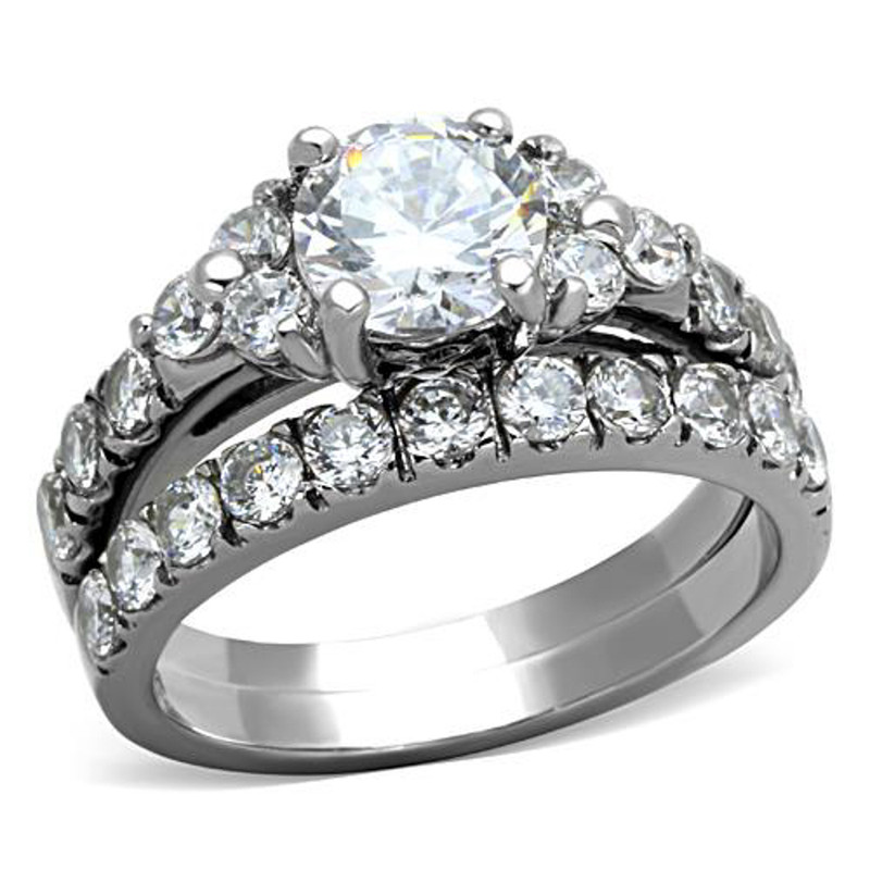 ST1331-ARTI4317 His & Her Stainless Steel 2.50 Ct Cz Bridal Set & Men's Titanium Wedding Band