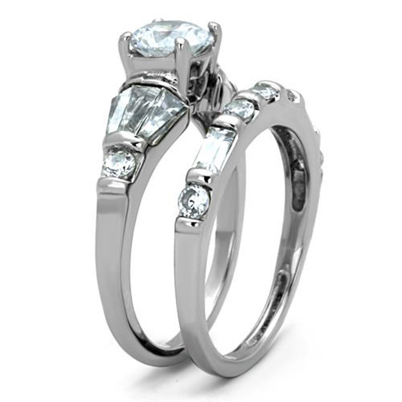 ST1535-ARTI4317 His & Her Stainless Steel 2.50 Ct Cz Bridal Set & Men's Titanium Wedding Band