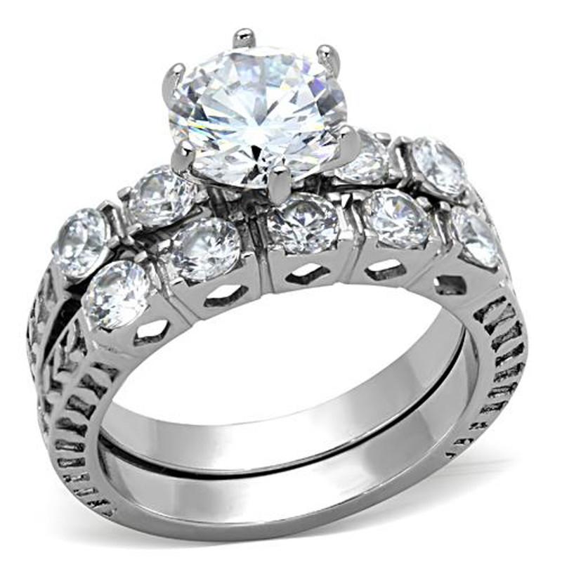 ST1450-ARTI4317 His & Her 3pc Stainless Steel 3.10 Ct Cz Bridal Set & Mens Titanium Wedding Band