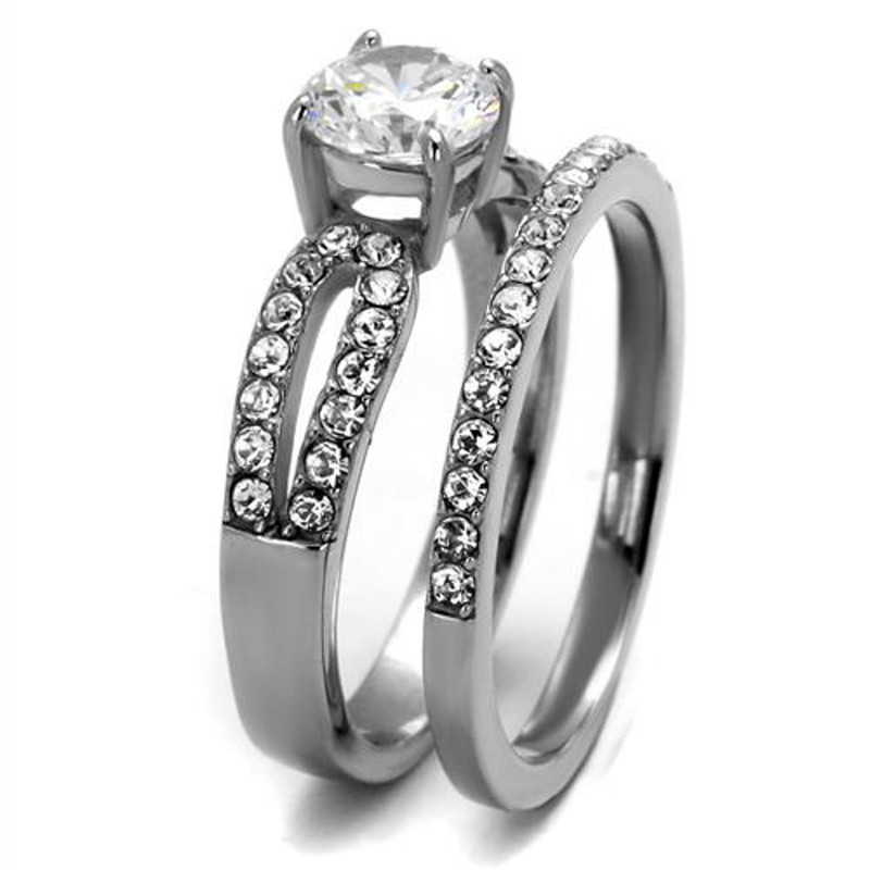 ST2292-AR001 His & Her 3pc Stainless Steel 1.25 Ct Cz Bridal Set & Men's Classic Wedding Band
