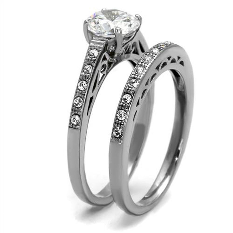 ST2477-ARH1570 His & Hers Stainless Steel 1.39 Ct Cz Bridal Set & Men's Eternity Wedding Band