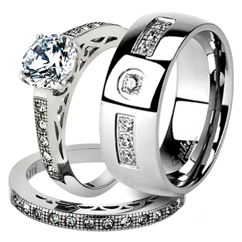 His & Her Stainless Steel 1.39 Ct Cz Bridal Ring Set & Men Zirconia Wedding Band