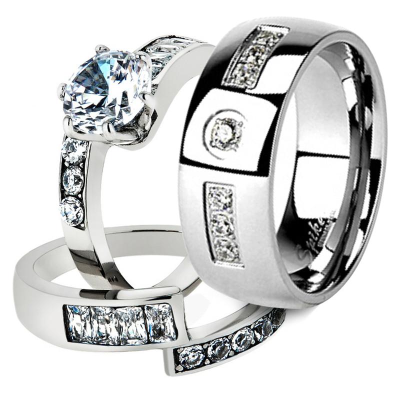 His & Her Stainless Steel 2.50 Ct Cz Bridal Ring Set & Men Zirconia Wedding Band