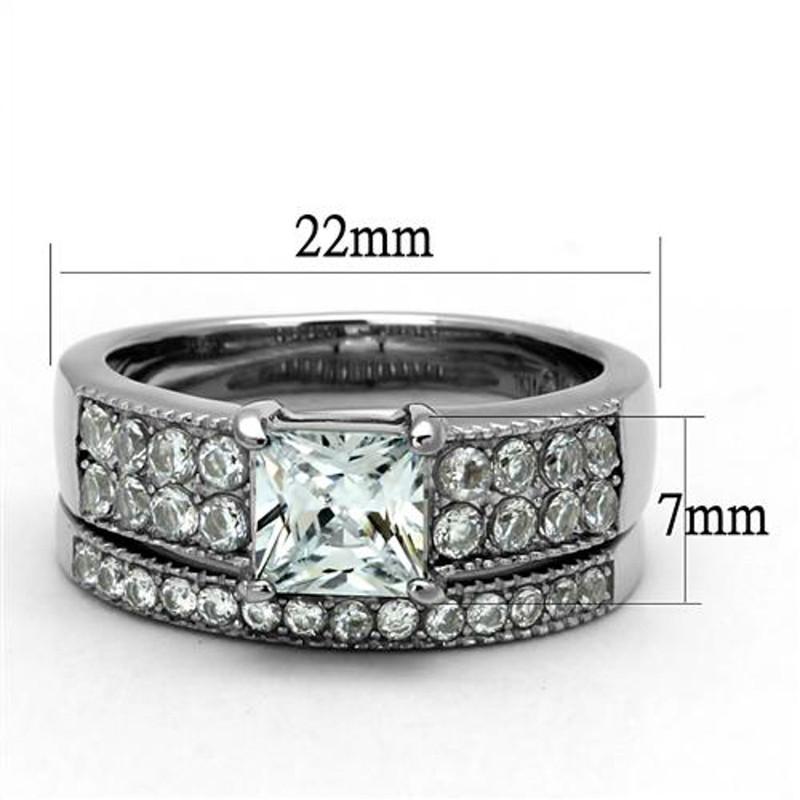 ST2915-ARTI4317 His & Her 3pc Stainless Steel 2.07 Ct Cz Bridal Set & Mens Titanium Wedding Band