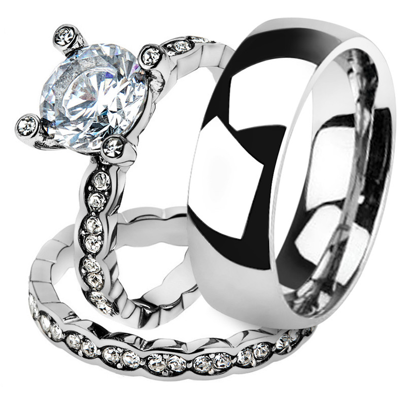 His & Her 3pc Stainless Steel 2.25 Ct Cz Bridal Set & Men's Classic Wedding Band