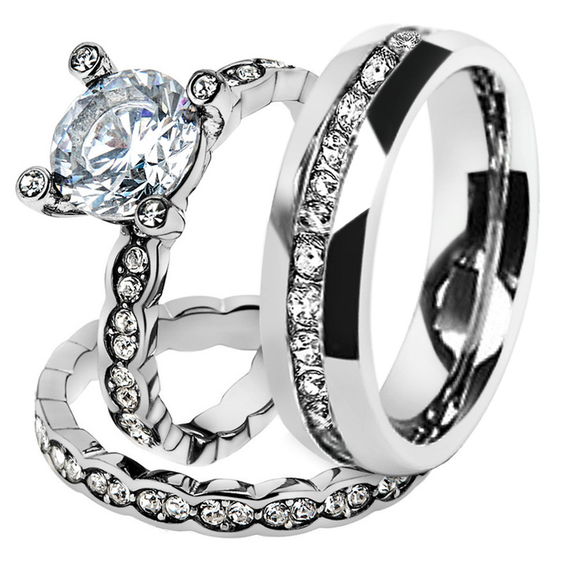 His & Hers Stainless Steel 2.25 Ct Cz Bridal Set & Men's Eternity Wedding Band