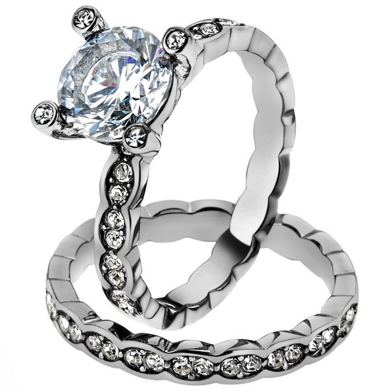 ST2659-ARH1570 His & Hers Stainless Steel 2.25 Ct Cz Bridal Set & Men's Eternity Wedding Band
