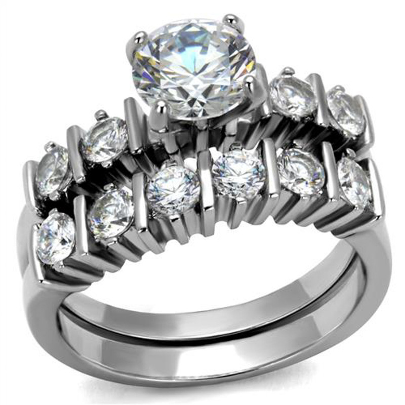 ST2869-AR001 His & Her 3pc Stainless Steel 2.38 Ct Cz Bridal Set & Men's Classic Wedding Band