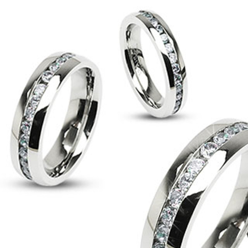 ST2869-ARH1570 His & Hers Stainless Steel 2.38 Ct Cz Bridal Set & Men's Eternity Wedding Band