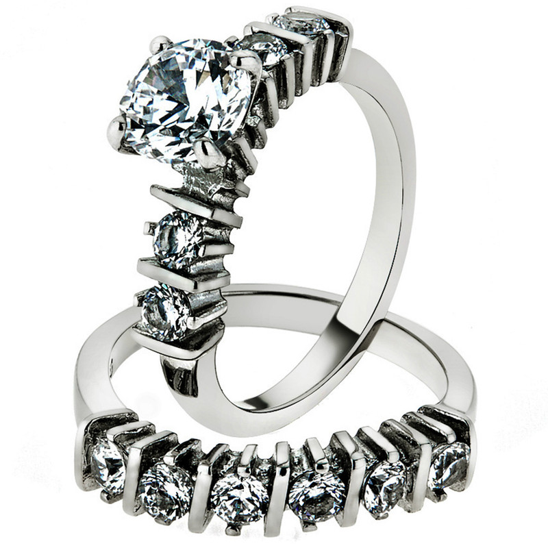 ST2869-ARM4587 His & Her Stainless Steel 2.38 Ct Cz Bridal Ring Set & Men Zirconia Wedding Band