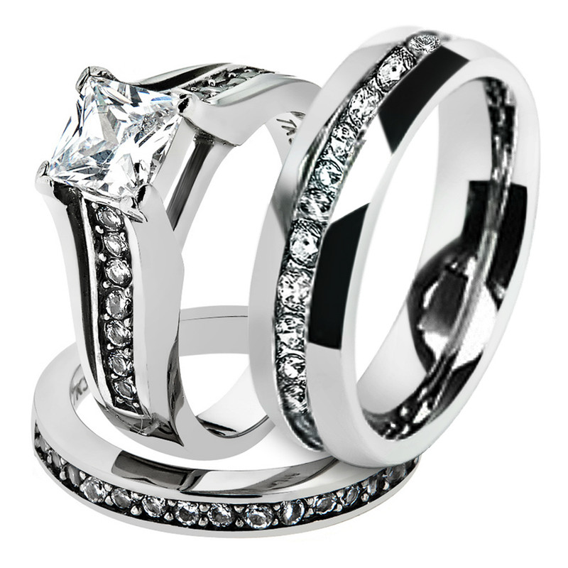 His & Hers 3 Pc Stainless Steel Princess Bridal Ring Set & Eternity Wedding Band