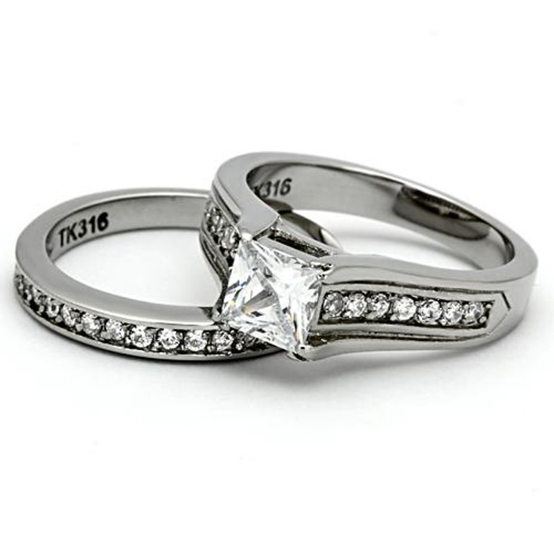 ST969-ARH1570 His & Hers 3 Pc Stainless Steel Princess Bridal Ring Set & Eternity Wedding Band