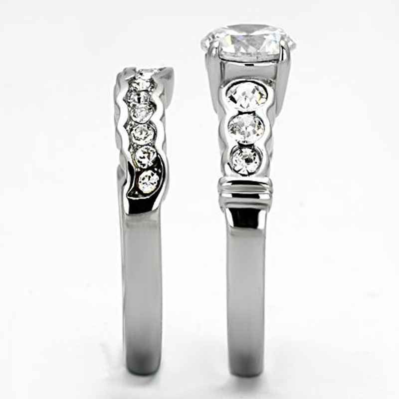 ST974-AR001 His & Hers 3pc Stainless Steel Bridal Engagement Set & Mens Classic Wedding Band