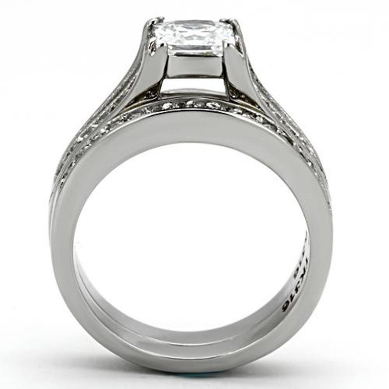 ST969-AR011 Hers & His Stainless Steel Princess Bridal Ring Set & Mens Zirconia Wedding Band
