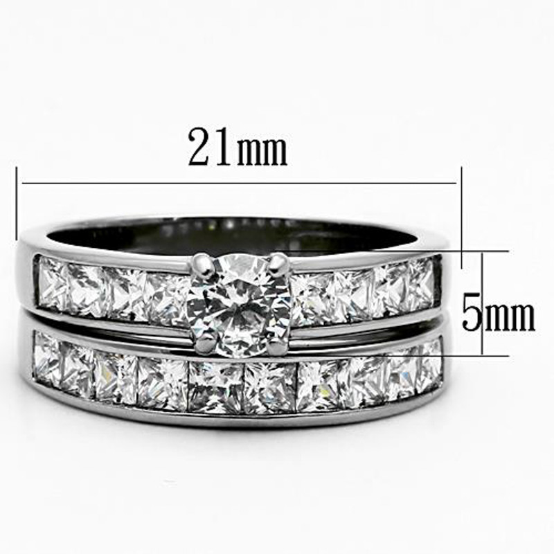 ST1321-AR001 His & Hers 3pc Stainless Steel Bridal Engagement Set & Mens Classic Wedding Band
