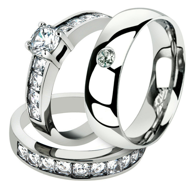 His & Hers Round Cut Cz Stainless Steel Engagemet Bridal Set & Mens Wedding Band