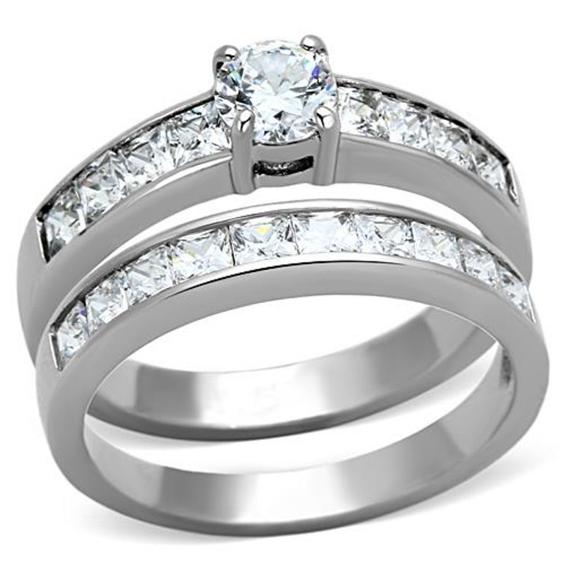 ST1321-AR011 His & Hers Round Cut Cz Stainless Steel Engagemet Bridal Set & Mens Wedding Band