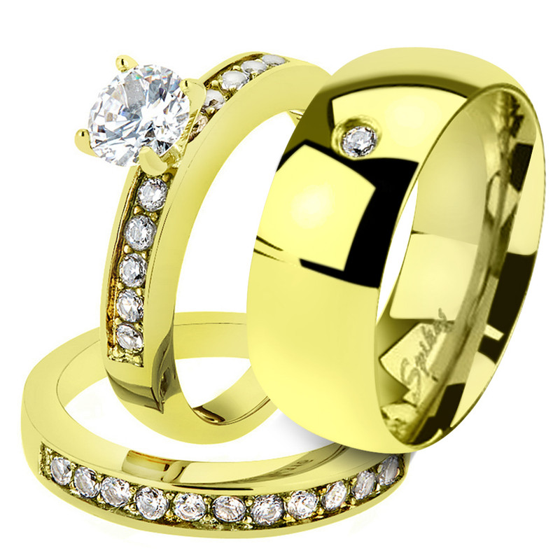 His & Her 1.17Ct Stainless Steel Gold Plated Bridal Ring Set & Men Zirconia Band