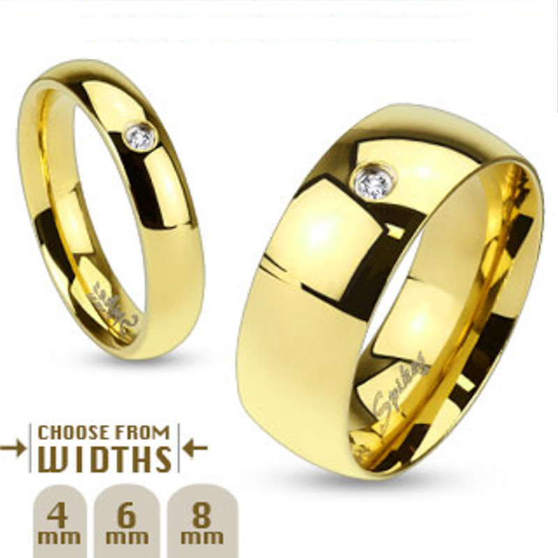 ST8X003-AR012 His & Her 1.17Ct Stainless Steel Gold Plated Bridal Ring Set & Men Zirconia Band