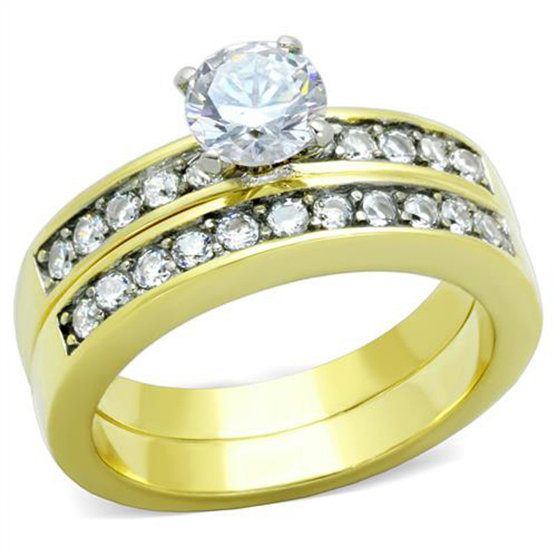 ST8X003-AR081 His & Her 1.17Ct Stainless Steel Gold Plated Bridal Ring Set & Mens Wedding Band