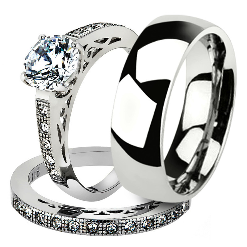 His & Her 3pc Stainless Steel 1.39 Ct Cz Bridal Set & Men's Classic Wedding Band