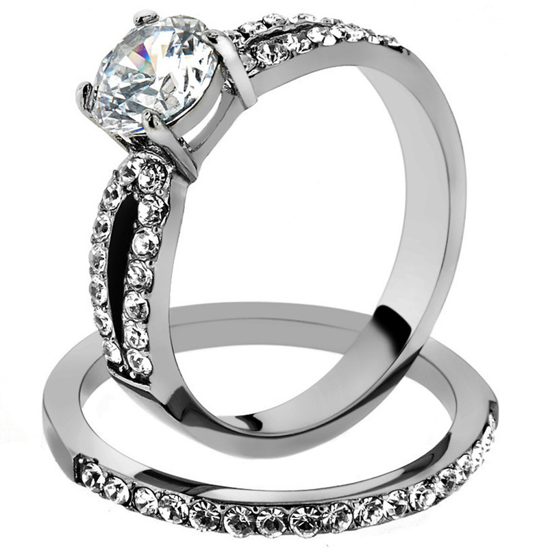 ST2292-ARM0006 His & Her 3pc Stainless Steel 1.25 Ct Cz Bridal Ring Set & Men Beveled Edge Band