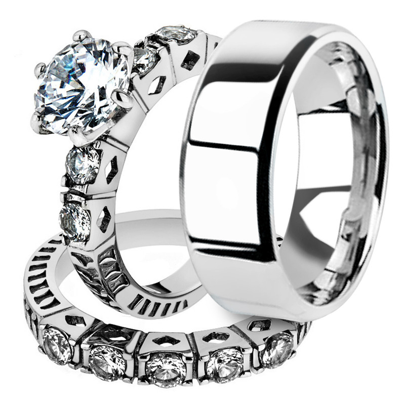 His & Her 3pc Stainless Steel 3.10 Ct Cz Bridal Ring Set & Men Beveled Edge Band
