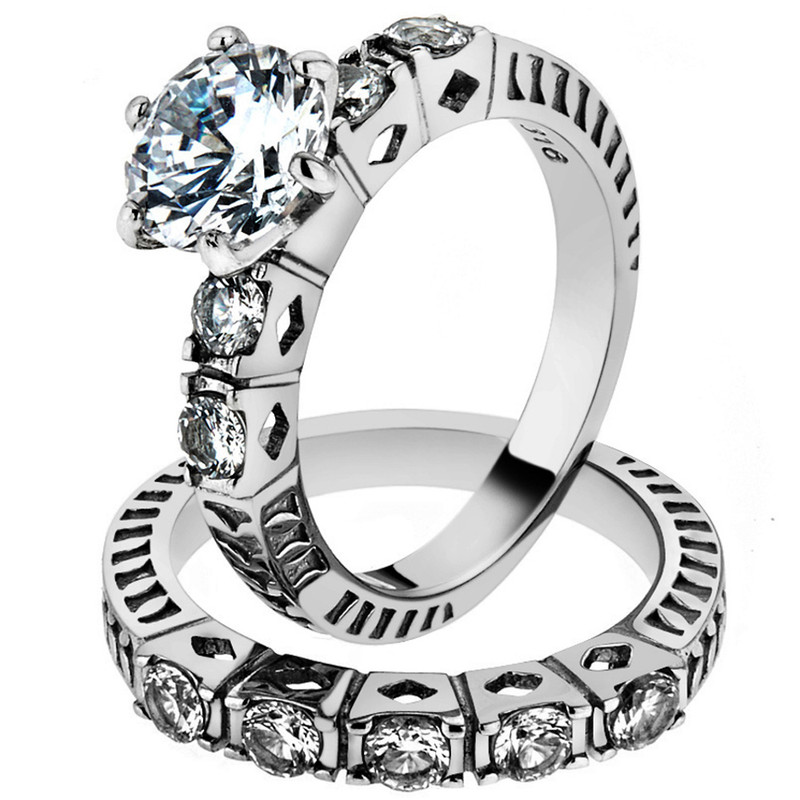 ST1450-ARM0006 His & Her 3pc Stainless Steel 3.10 Ct Cz Bridal Ring Set & Men Beveled Edge Band