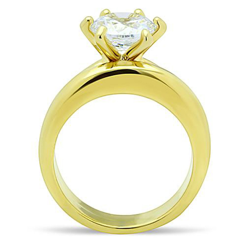 ST097G-AR012 His & Her 2.05Ct Stainless Steel Gold Plated Bridal Ring Set & Men Zirconia Band