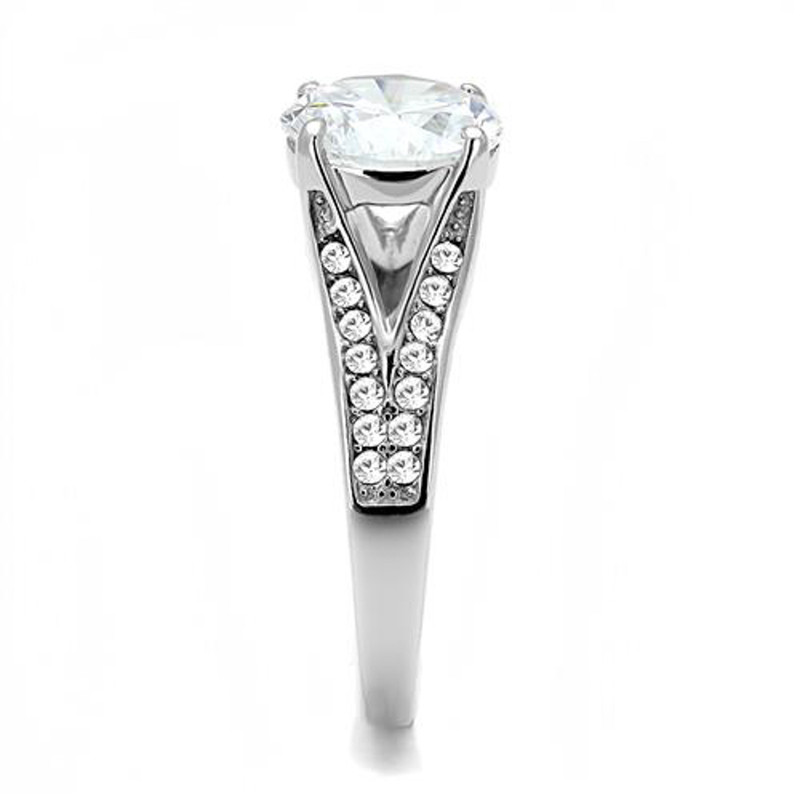 ARTK3020 Women's 3.17 Ct Round Cut Zirconia Stainless Steel Engagement Ring Size 5-10