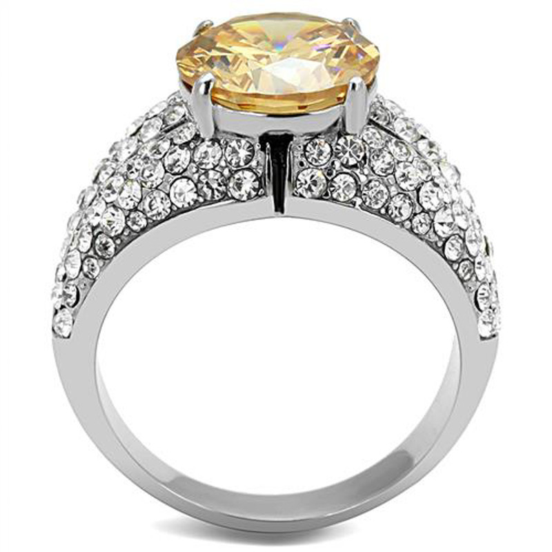 ARTK3031 Women's 4.55 Ct Round Cut Champagne CZ Stainless Steel Engagement Ring Size 5-10