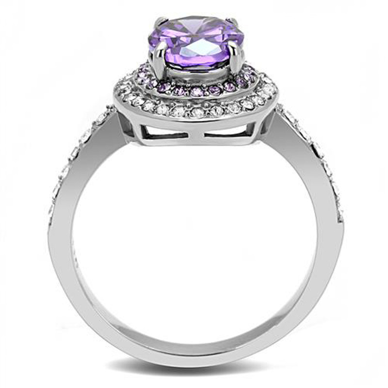 ARTK3032 Stainless Steel 2.2 Ct Oval Cut Amethyst Color Cz Halo Engagement Ring Size 5-10