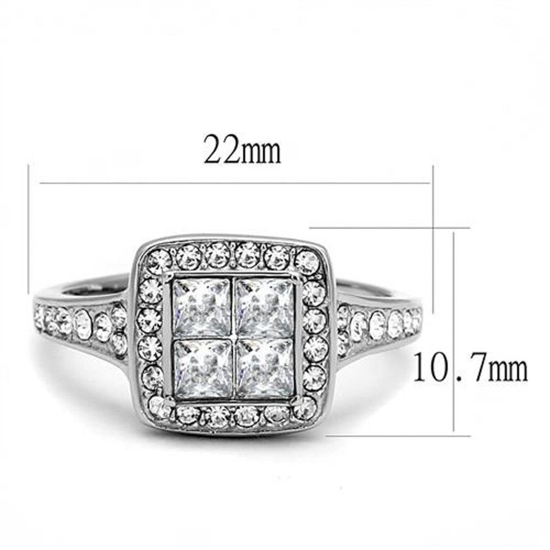 ARTK3137 Women's 1.06 Ct Princess & Round Cut CZ Stainless Steel Engagement Ring Sz 5-10