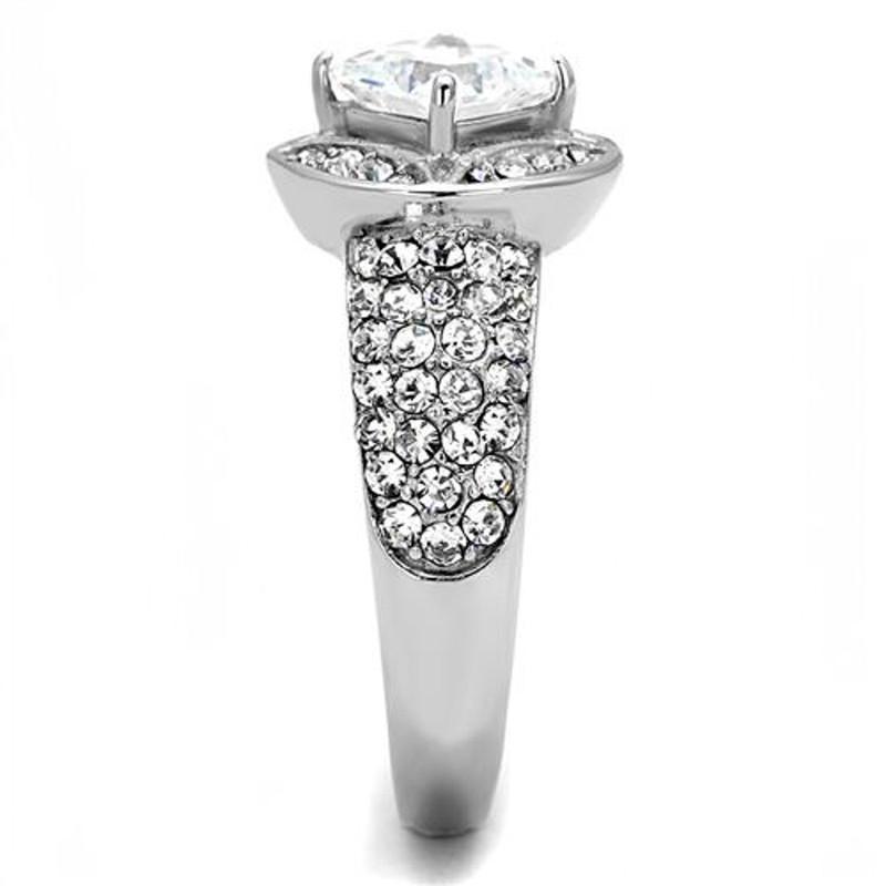 ARTK3206 Women's 1.96 Ct Princess Cut Zirconia Stainless Steel Engagement Ring Size 5-10